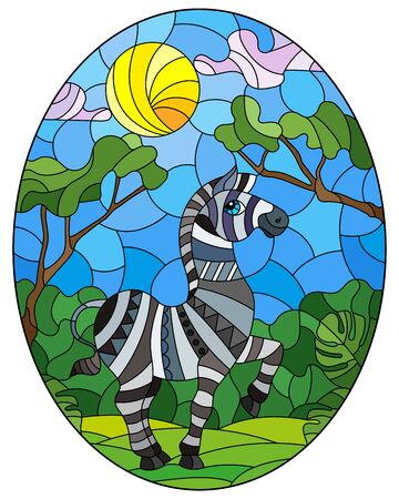 Illustration in stained glass style with cute Zebra on the background of green trees of cloudy sky and sun, oval image
