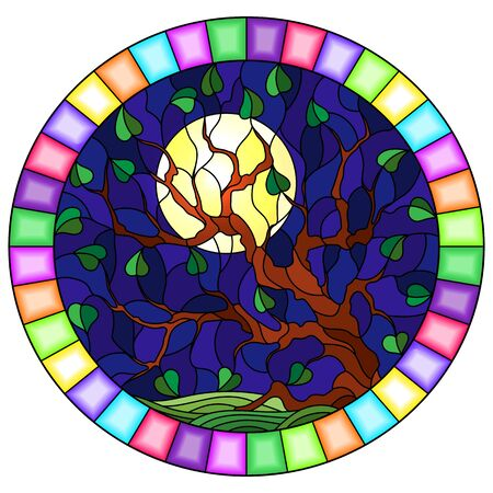 Illustration in stained glass style with a tree on sky background and moon, round image in bright frame