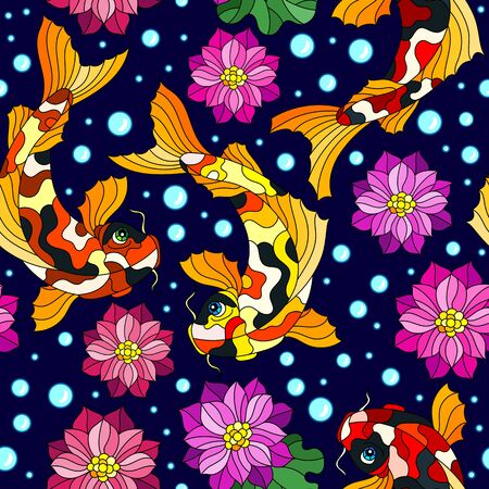 Seamless pattern with colorful koi carp fishes, Lotus flowers and bubbles on a dark blue background