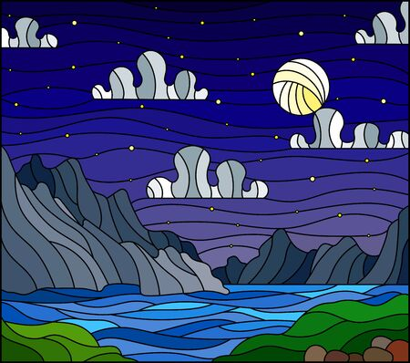 Illustration in stained glass style with a wild landscape, a lake on a background of mountains and a starry night sky with moon
