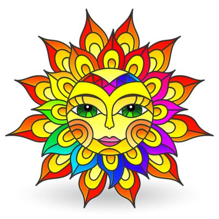Illustration in stained glass style with sun with face on a white background isolated