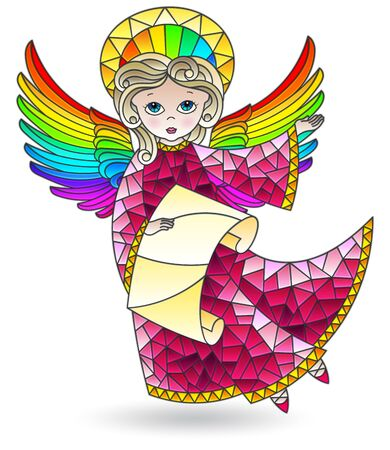 Stained glass illustration with a cute cartoon angel with scroll, coloured figure isolated on a white background 向量圖像