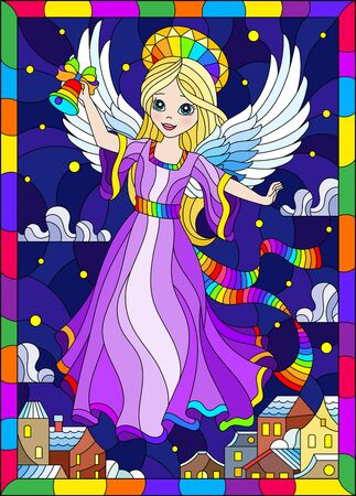 Illustration in a stained glass style on a religious theme, an angel girl in a purple dress hovering over the night city,in a bright frame