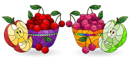 Set of illustrations in stained glass style with still lifes, fruit in a bowl isolated on a white background