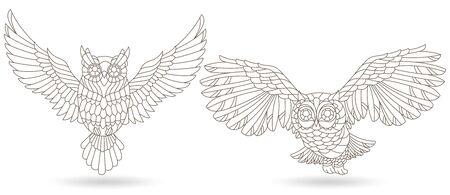 Ensemble d'éléments en vitrail avec hiboux, oiseaux contour isolés sur fond blanc