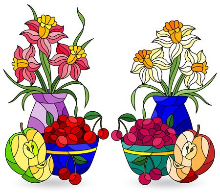 Set of illustrations in stained glass style with still lifes, fruits and flowers isolated on a white background