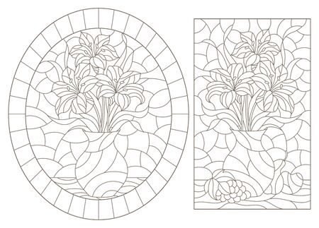 Set of contour illustrations in stained glass style with still lifes, flowers and fruits, dark outlines on a white background