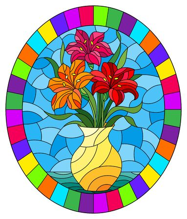 Illustration in stained glass style with bouquets of bright lily flowers in a yellow  jug on a  table on blue background, oval image in bright frame Illustration