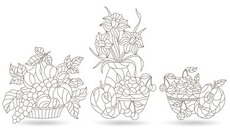 Set of contour illustrations in stained glass style with still lifes, Lily flowers and fruits, dark outlines on a white background