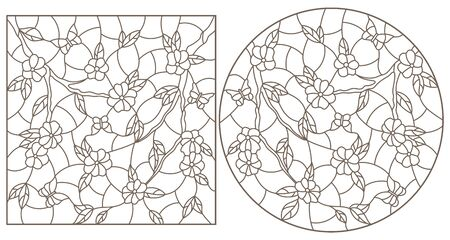 Set of contour illustrations in stained glass style with branches of a flowering tree and butterflies, dark outlines on a white background Vettoriali