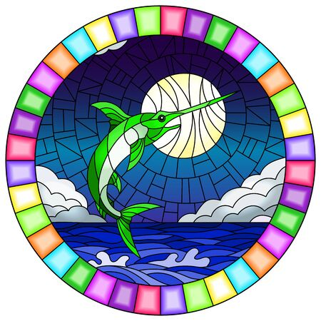 Illustration in stained glass style with a fish swordfish on the background of water ,cloud, sky and moon, round image in a bright frame
