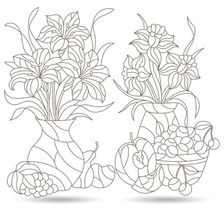A set of contour illustrations of stained glass Windows with still lifes, fruits and flowers in vases, dark outlines on a white background