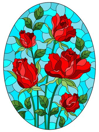 Illustration in stained glass style with a bouquet of red roses on a blue background, oval image