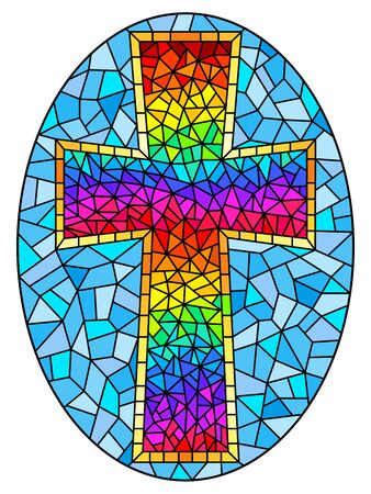 The illustration in stained glass style painting on religious themes, stained glass window in the shape of a rainbow Christian cross , on a blue background , oval image