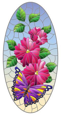 Illustration in stained glass style with a bright purple butterfly on a pink flowers, oval image on a blue background Çizim