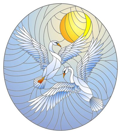 Illustration in stained glass style with a pair of  swans on the background of the blue daytime sky, oval image