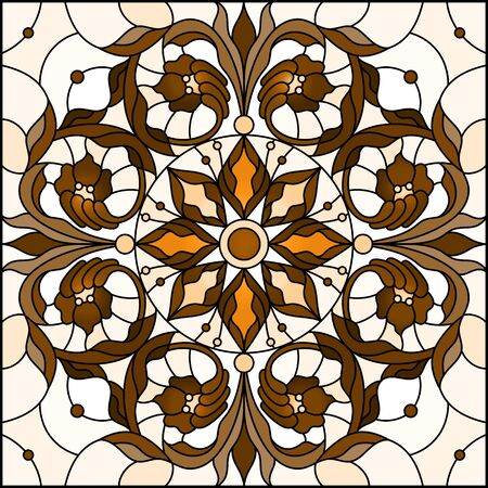 Illustration in stained glass style with abstract  swirls and leaves  on a light background,square orientation, sepia Çizim