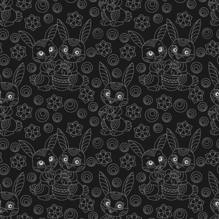 Seamless pattern on the theme of the Easter holiday, cute cartoon rabbits and flowers, light outlines on a dark background Çizim