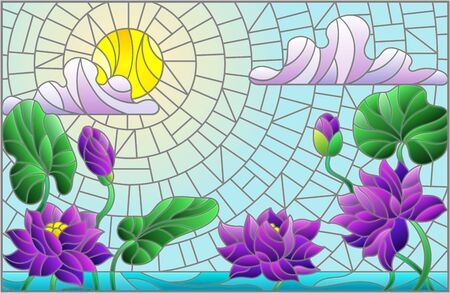 Illustration in stained glass style with Lotus flowers against a Sunny blue sky with clouds, horizontal orientation