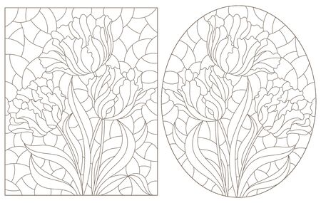 A set of contour illustrations of stained glass Windows with Tulips in frames, dark contours on a white background, oval and rectangular image