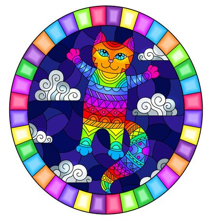 Stained glass illustration with cartoon rainbow cat on the background of night sky and clouds, oval image in bright frame