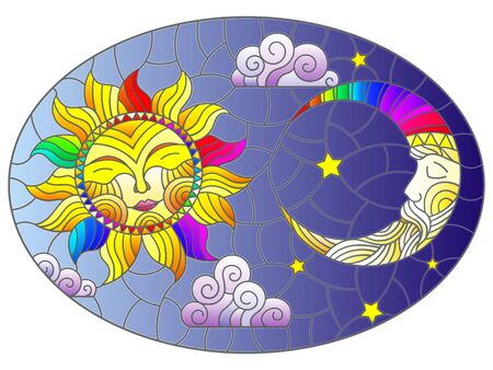 Illustration in stained glass style , abstract sun and moon in the sky, oval image Çizim