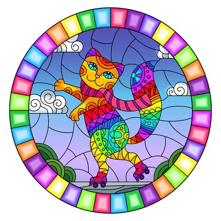 Illustration in stained glass style with funny rainbow cartoon cat on rollers, on the background of the road and the sky with clouds, oval image in bright frame