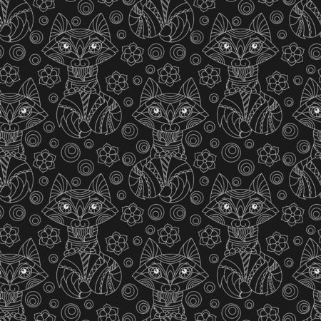 Seamless pattern with cute cartoon foxes, raccoons and flowers, light animal outlines on a dark background Çizim