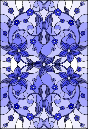 Illustration in stained glass style with abstract flowers, swirls and leaves  on a light background,vertical orientation, tone blue