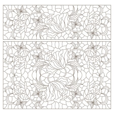 Set of contour illustrations of stained glass Windows with intertwined tulips, dark outlines on a white background Çizim