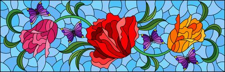 Illustration in a stained glass style with a flower arrangement of tulips and butterflies on a blue background, horizontal orientation