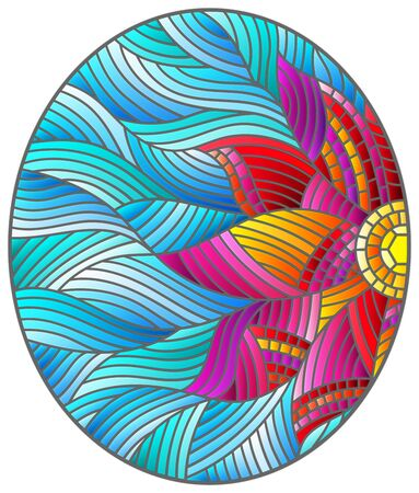 Illustration in stained glass style with bright pink abstract flower on a blue wavy background, oval image