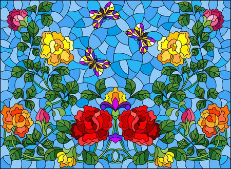Illustration in stained glass style with intertwined roses and butterflies on a blue background, horizontal orientation