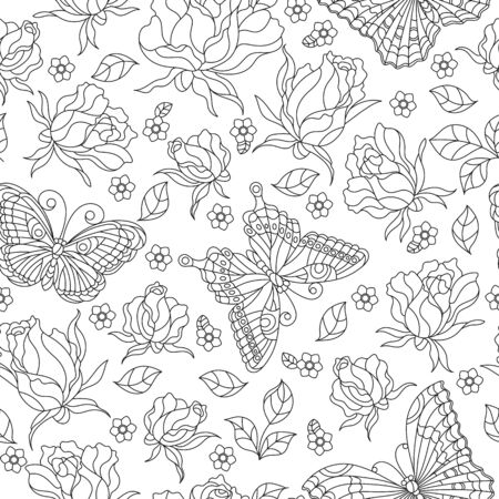 Seamless pattern with rose flowers and butterflies, dark contour flowers and insects on a white background