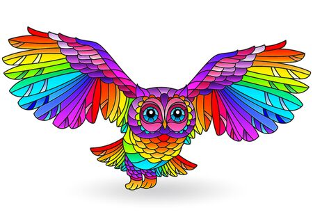 Stained glass illustration with rainbow owl, bright bird isolated on white background