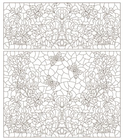 Set of contour illustrations of stained glass Windows with intertwined roses, dark outlines on a white background Çizim