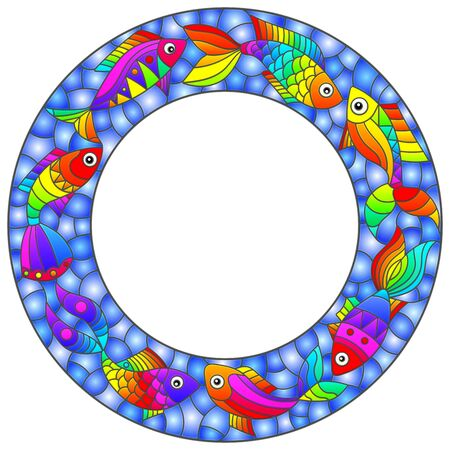 Illustration in stained glass style with bright frame with rainbow abstract fishes on a blue background