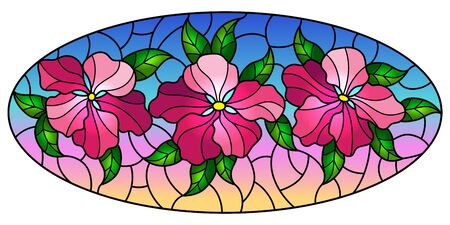 llustration in stained glass style with flowers, leaves and buds of pink flowers on a sky background, oval omage Çizim