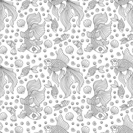 Seamless pattern on a marine theme with fish and shells, dark contour fishes on a white background
