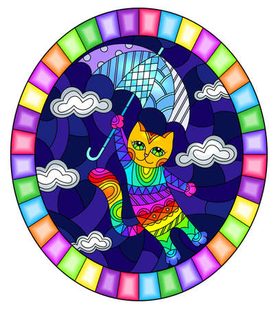 Illustration in stained glass style with funny rainbow cat flying on the umbrella on the background of sky and clouds, oval image in bright frame
