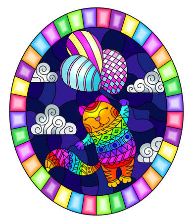 Illustration in stained glass style with funny rainbow cat flying on balloons on the background of night sky and clouds, oval image in bright frame