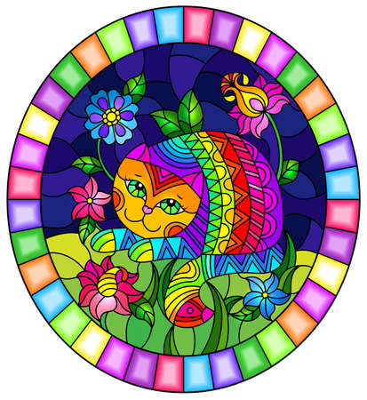 An illustration in a stained glass style with a pair of funny cartoon cats against a winter landscape, a round image in a bright frame