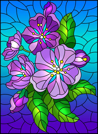 Illustration in stained glass style with a blossom branch, purple flowers, buds and leaves on a sky background 스톡 콘텐츠