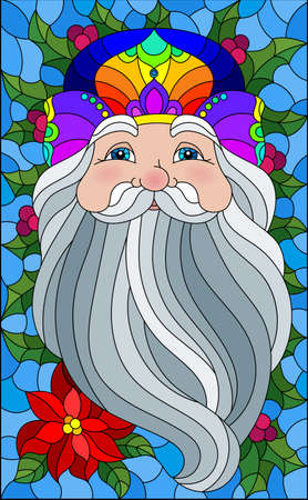 Illustration in stained glass style with a portrait of Santa Claus and branches of Holly on a blue background 스톡 콘텐츠