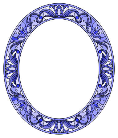 Illustration in stained glass style flower frame, blue flowers and leaves on a white background, oval image