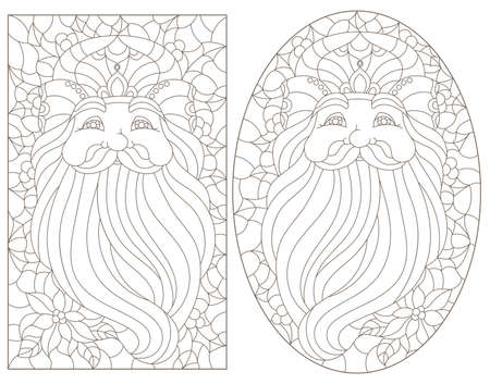 Set of stained glass elements with owl, brown bird isolated on white background