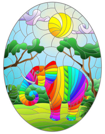 Illustration in stained glass style with cute rainbow elephant on the background of green trees of cloudy sky and sun, oval image