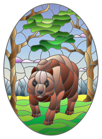 Illustration in stained glass style with wild bear on the background of trees, mountains and sky, oval image