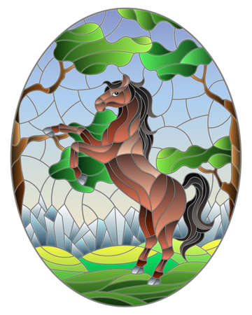 Illustration in stained glass style with wild horse on the background of trees, mountains and sky, oval image