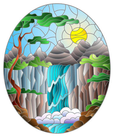 Illustration in stained glass style landscape, the tree on the background of a waterfall, mountains, sun and sky, oval image